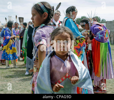 USA, Montana, Crow Agency. articipants in the powwows held during the annual Crow Fair, taking place at the Crow - Stock Photo