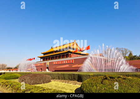 Tian'anmen, the Gate of Heavenly Peace, south of the Forbidden City in Beijing, China, seen on a bright morning - Stock Photo