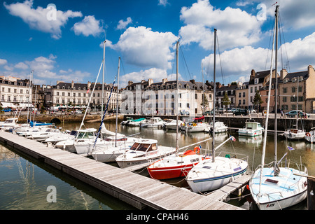 The marina and waterfront in the ancient city of Vannes, Brittany, France. - Stock Photo