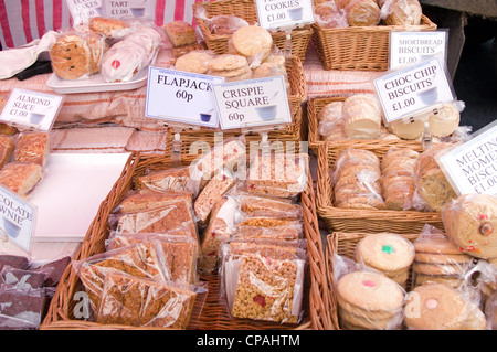Flapjacks and biscuits on sale at Stokesley Farmers Market, Stokesley, North Yorkshire, England, UK - Stock Photo
