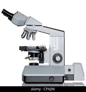 Photo of a professional ocular laboratory microscope with stereo eyepiece isolated on a white background. - Stock Photo