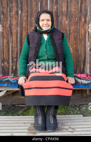 Peasant woman in traditional dress, Romania - Stock Photo
