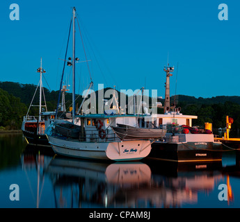 Port of Strahan fishing fleet in the late evening. - Stock Photo