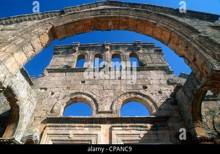 Syria, Basilica of St Simeon, Qala'at Samaan, - Stock Photo