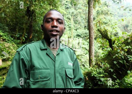 A naturalist and guide, working for the Rwanda Development Board, in Nyungwe National Park, Rwanda - Stock Photo