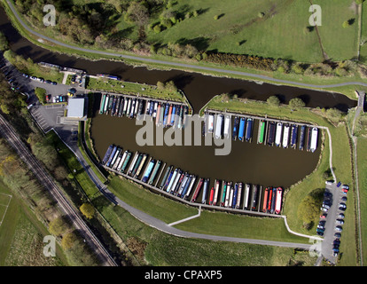A vertical aerial view of Reedley Marina narrow canal boat marina in Burnley - Stock Photo