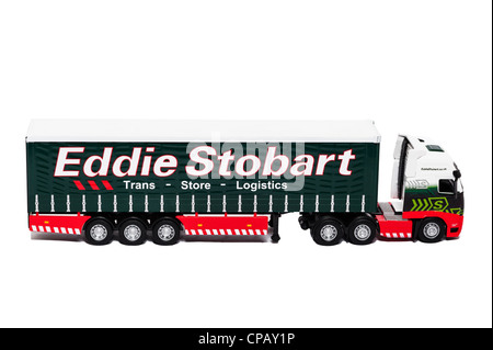 A model Eddie Stobart lorry on a white background - Stock Photo