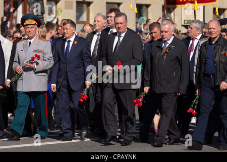 The parade of veterans of World War II on the Nevsky Prospect, St. Petersburg, Russia, May 9, 2012. The first line - Stock Photo