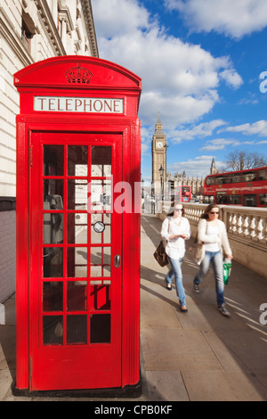 Red phone box and Big Ben: London: England - Stock Photo