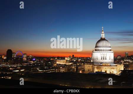 St Paul's Cathedral and London city at dusk: London: England - Stock Photo