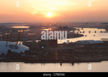 Sunrise over River Thames, The Millennium Dome and East London; England - Stock Photo