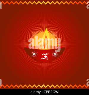 Indian festival Diwali lamp with OM symbol - Stock Photo