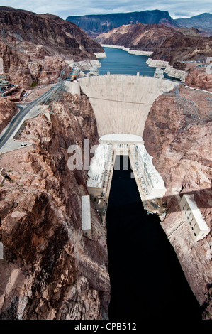 Hoover Dam on the Colorado River, Nevada/Arizona - Stock Photo