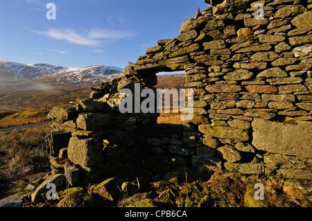 Long-ruined shepherd's cottage in the Tarmachan Hills above Killin, Scotland - Stock Photo