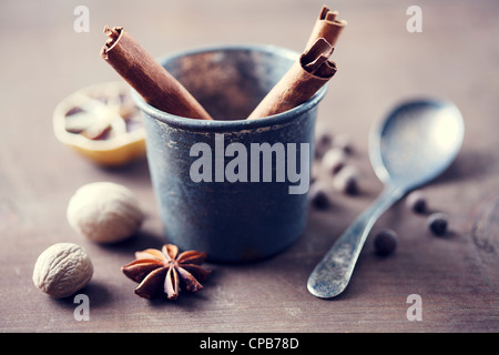 herbs and spices in a rustic setting - Stock Photo