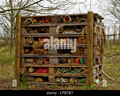 Hotel Coleoptera - a shelter for insects during the winter at RHS Garden Hyde hall Essex - Stock Photo
