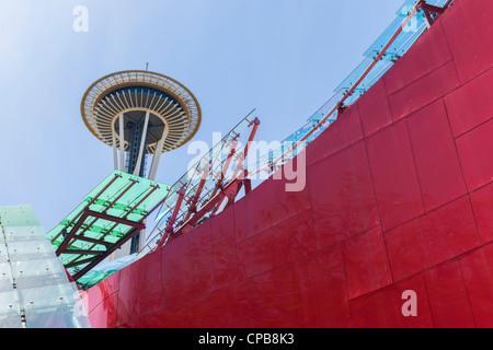 Space Needle & EMP Museum Seattle Center - Stock Photo