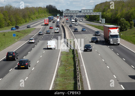 Vehicles on the M1 motorway in South Yorkshire, England, U.K. - Stock Photo