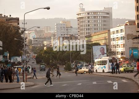 Churchill Ave. - Downtown Addis Ababa, Ethiopia. - Stock Photo