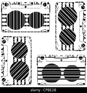striped audio tapes against white background, abstract vector art illustration - Stock Photo