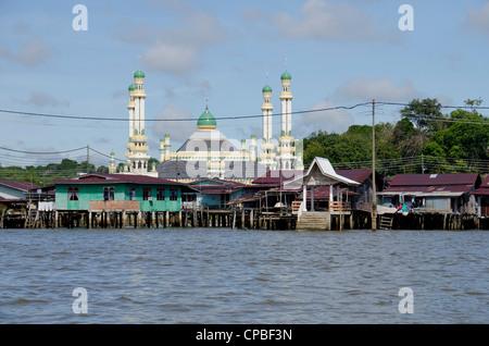 Asia, Borneo, Brunei Darussalam, Bandar Seri Begawan. Historic Water Village. - Stock Photo