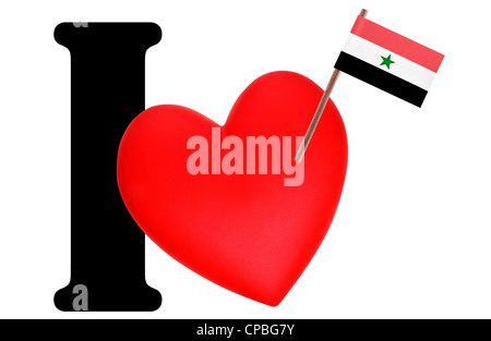Small flag on a red heart and the word I to express love for the national flag of Yemen - Stock Photo