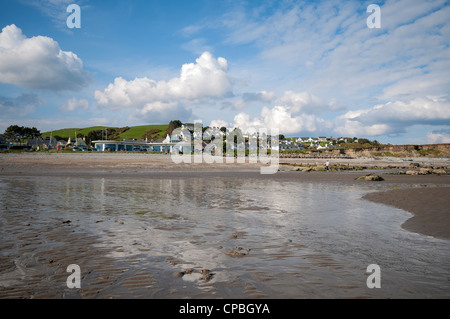 Criccieth beach in North Wales, UK - Stock Photo