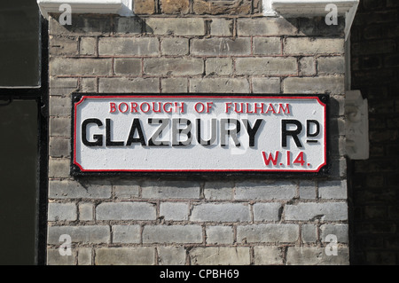 Traditional old fashioned road sign for Glazbury Road, Fulham, London, W14, UK. - Stock Photo