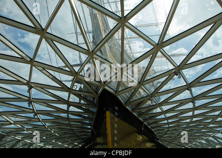 Visitors to the restored Cutty Sark Clipper Ship in Greenwich to coincide with London 2012 Olympics and Queen Silver - Stock Photo