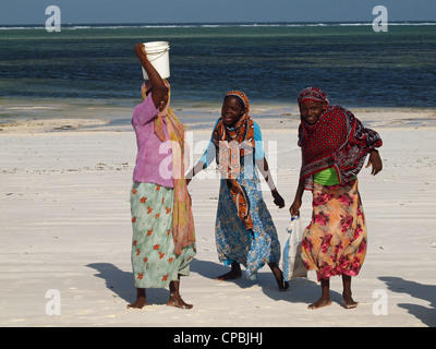 three happy local swahili women in colourful traditional costume laughing on a white sandy beach in Zanzibar, one - Stock Photo