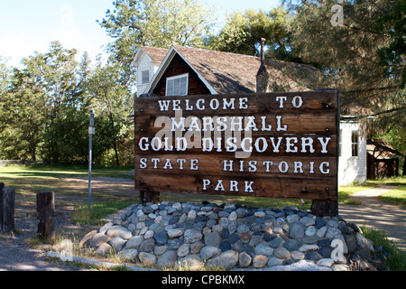 Marshall Gold Discovery state historic park sign Coloma California USA - Stock Photo