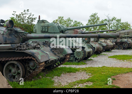 Open air war museum in Karlovac in Croatia, showing  military tanks. - Stock Photo