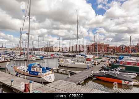 The marina at Riversway in the old Preston docks. - Stock Photo