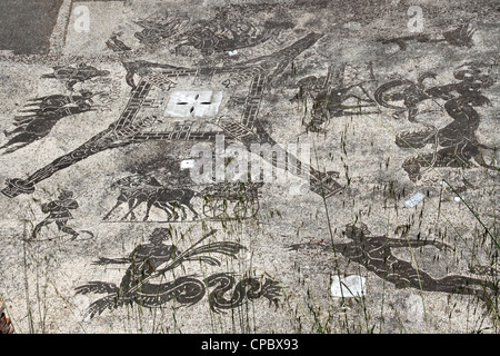 Italy Latium Ostia Antica, Mosaic in Terme Cisiarii - Stock Photo