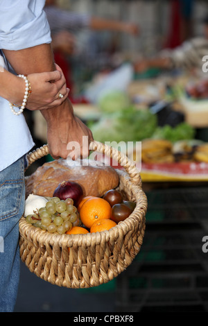 A basket full of healthy food - Stock Photo