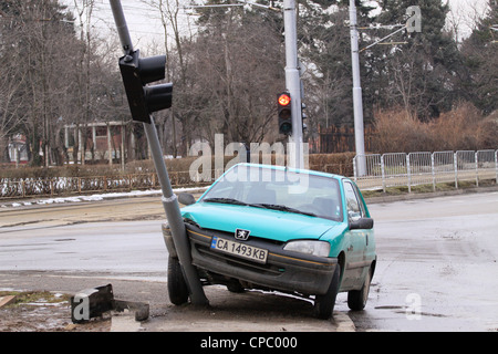 Car crash, accident, traffic lights - Stock Photo