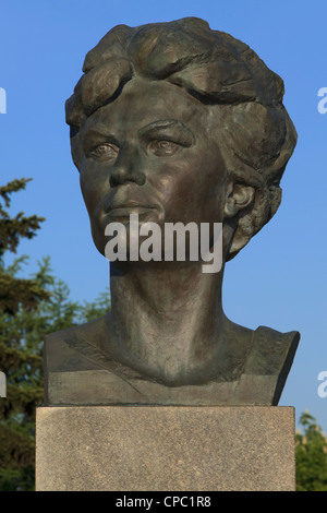 Statue of the Soviet/Russian female cosmonaut Valentina Vladimirovna Tereshkova (1937) at Cosmonauts Alley in Moscow, - Stock Photo