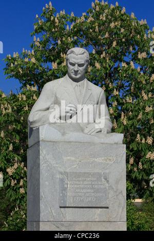 Monument to the Soviet Ukrainian engineer Valentin Petrovich Glushko (1908-1989) in Moscow, Russia - Stock Photo
