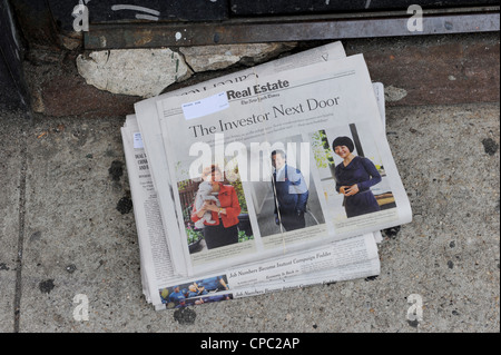 New York Times Newspaper delivered in Doorway, New York - Stock Photo