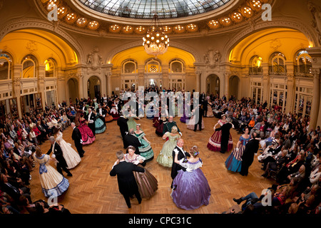 The great fancy dress ball (Second Empire period dress), on the occasion of the happening: 'Vichy celebrates Napoleon - Stock Photo