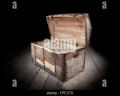 Treasure chest is open and empty. - Stock Photo
