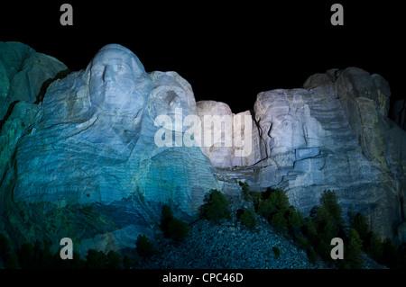 Faces at night, Mount Rushmore National Memorial, Keystone, South Dakota. - Stock Photo