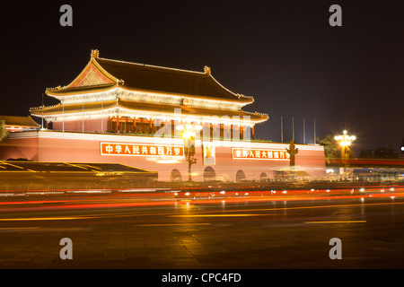 Night scene of Tiananmen gate in beijing China - Stock Photo