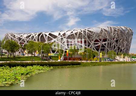 The Beijing National Stadium, also called the birds nest was built in Beijing for the Beijing Olympic Games 2008. - Stock Photo