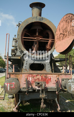 old italian steam train rust rusted rusty iron steel boiler tubes relic of another age on display in lamezia - Stock Photo