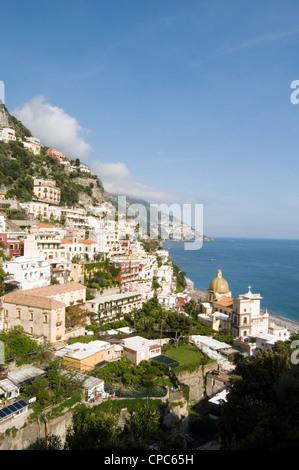 Positano village on the Amalfi Coast (Costiera Amalfitana), in Campania, Italy. italian town - Stock Photo