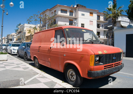 mk2 transit van vans mark 2 two panel ford beaten up beat broken headlight - Stock Photo