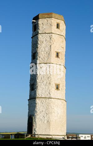 Old Beacon Lighthouse .Chalk tower now restored Flamborough Head Yorkshire England UK.