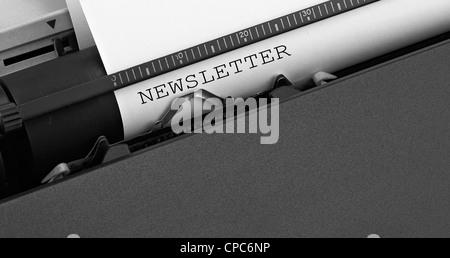 'newsletter' message typed by vintage typewriter.