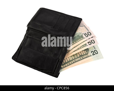 Leather wallet with some dollars, clipping path - Stock Photo